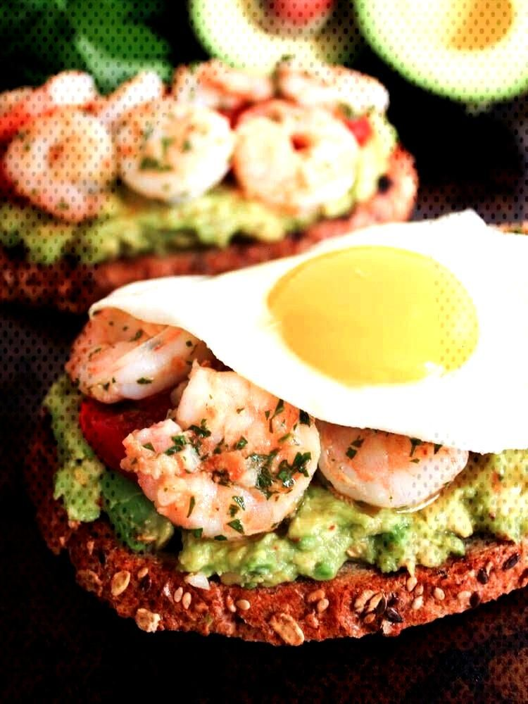 Toasts with Charred Tomatoes, Garlic Shrimp and Fried Eggs. A healthy anytime meal thats packed wi