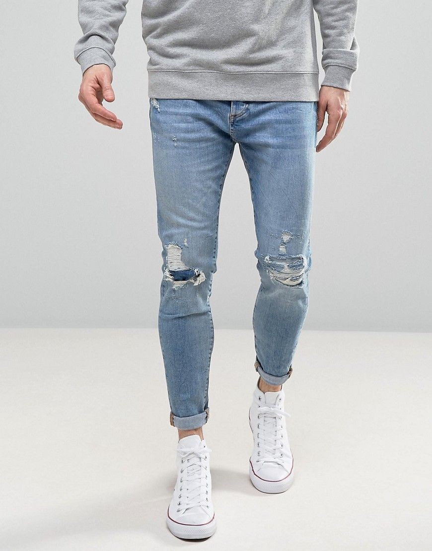 Pull&Bear Carrot Fit Jeans With Rips In Light Wash | Jeans