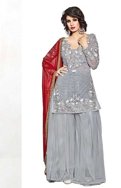 c45bde31d1 Grey Heavy Stone and Zardosi work Salwar Suit   Beautiful ...
