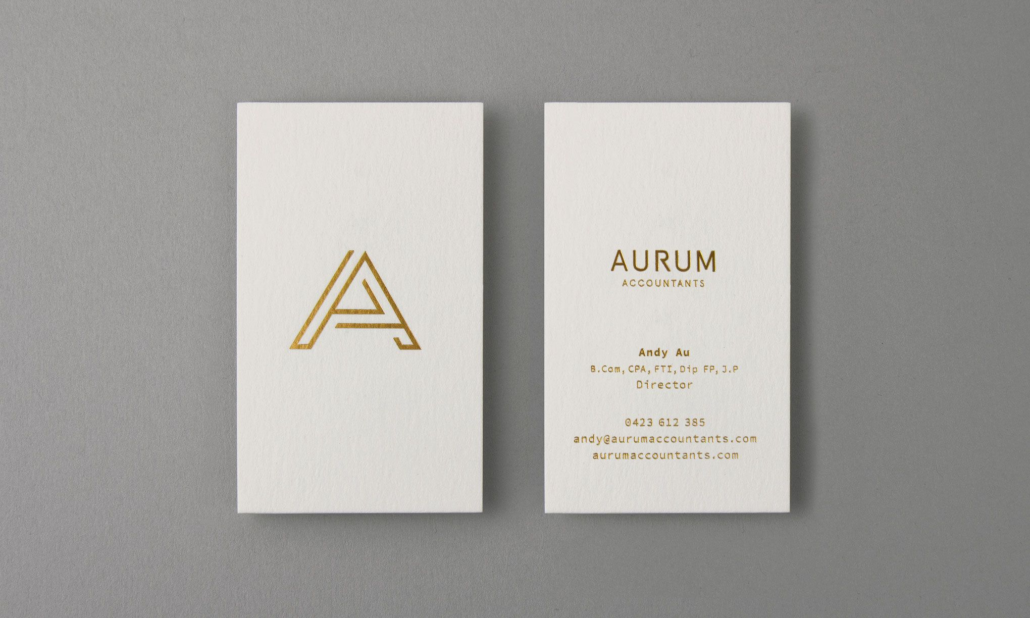 Visual identity and business cards for Aurum Accountants designed by ...