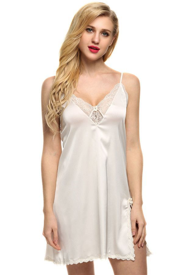 4d6ef2d6aaa1 Ekouaer sleep dress Sexy Satin Sleepwear Silk Nightgown Women Nightdress  Sexy Lingerie Plus Size S M L XL XXL Female Nightie