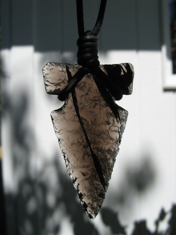 Flint Knapped obsidian arrowhead pendant by ABOriginalKnapping, $15.00