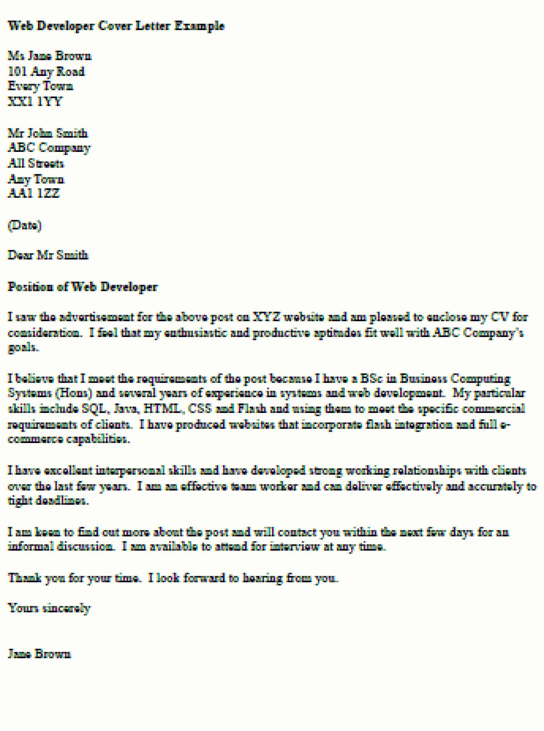 Cover Letter For Java Developer Unique