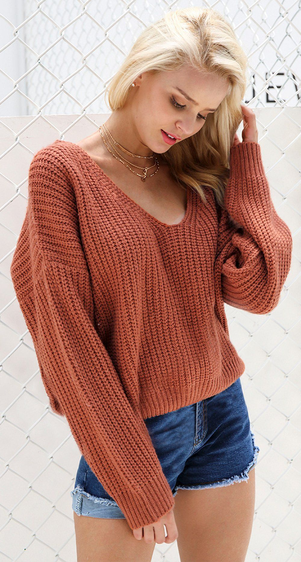 d2afc59c1e Cute Casual Spring Outfit Ideas for Teen Girls for School 2018 Shorts Oversized  Knitted Sweater with Lace Up Back - www.GlamantiBeauty.com