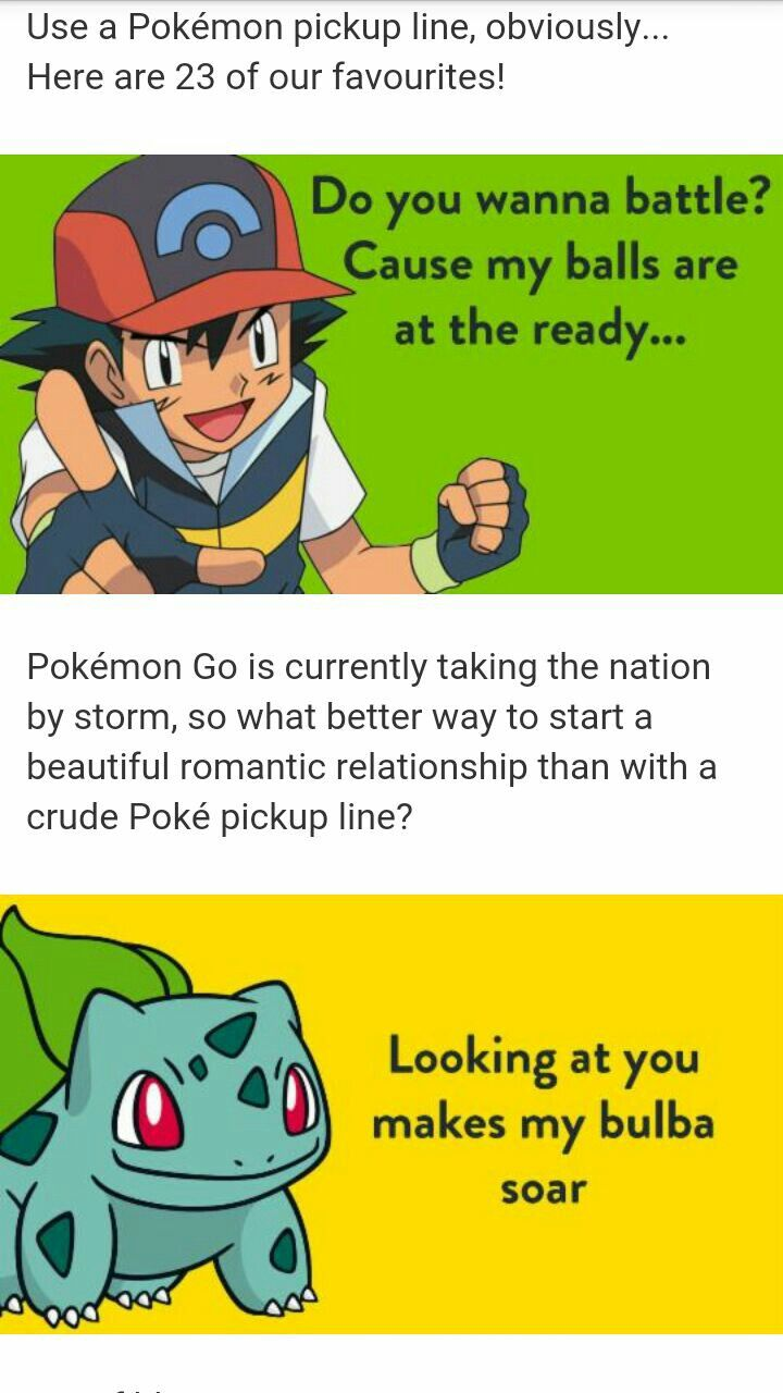 pokemon pick up lines meme