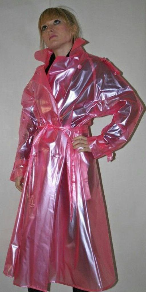 Raincoat Jacket, Pink Plastic Trench Coat