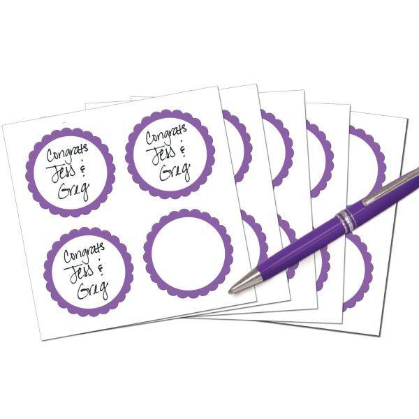 Purple Favor Sticker Labels 20ct