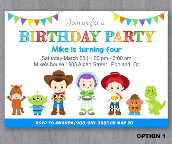 Toy Story Birthday Invitation Toy Story Invitation Toy Story