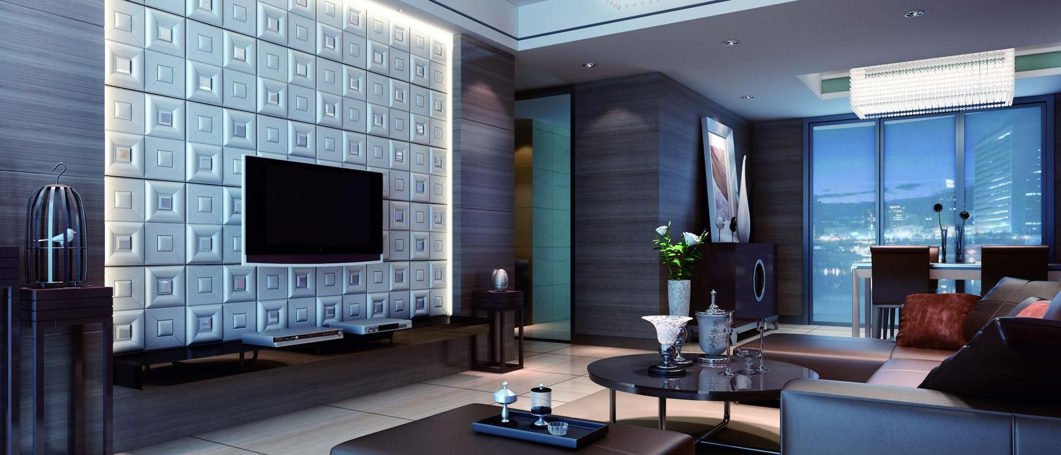 Interesting textured wall panels living room with tv wall mount in ...