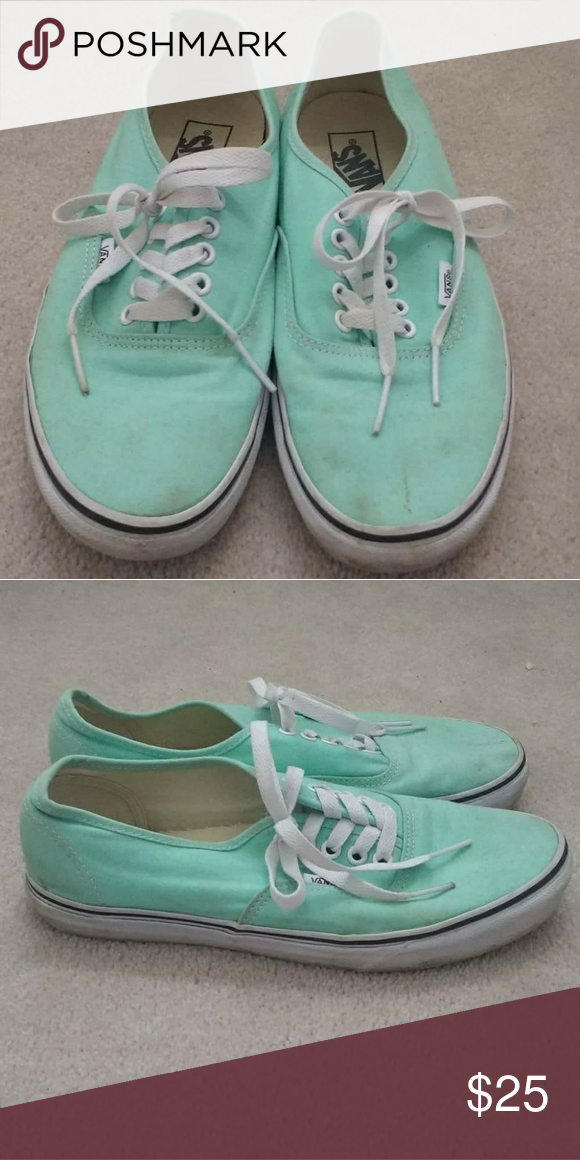 8e56438206f5 Vans Mint Green Authentic Core Classics Worn but still in workable  condition