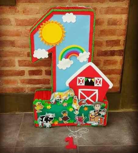 Barn pinata Farm  birthday Party. Number Farm pinata Mickey Farm pinata