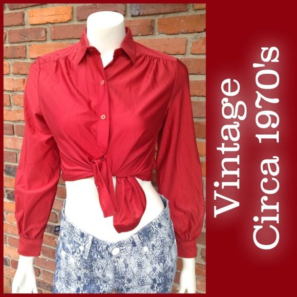 Vintage polyester brick red blouse M I remember when I was a child playing hide and go seek under the clothing racks with my siblings at Sears while my mom was trying on blouses. This was one of those she bought... 100% polyester. Size tag says 10, is think like 8-10 estimated due to sizing changes over the years. Gathered yoke, button cuffs. Sears Tops Blouses