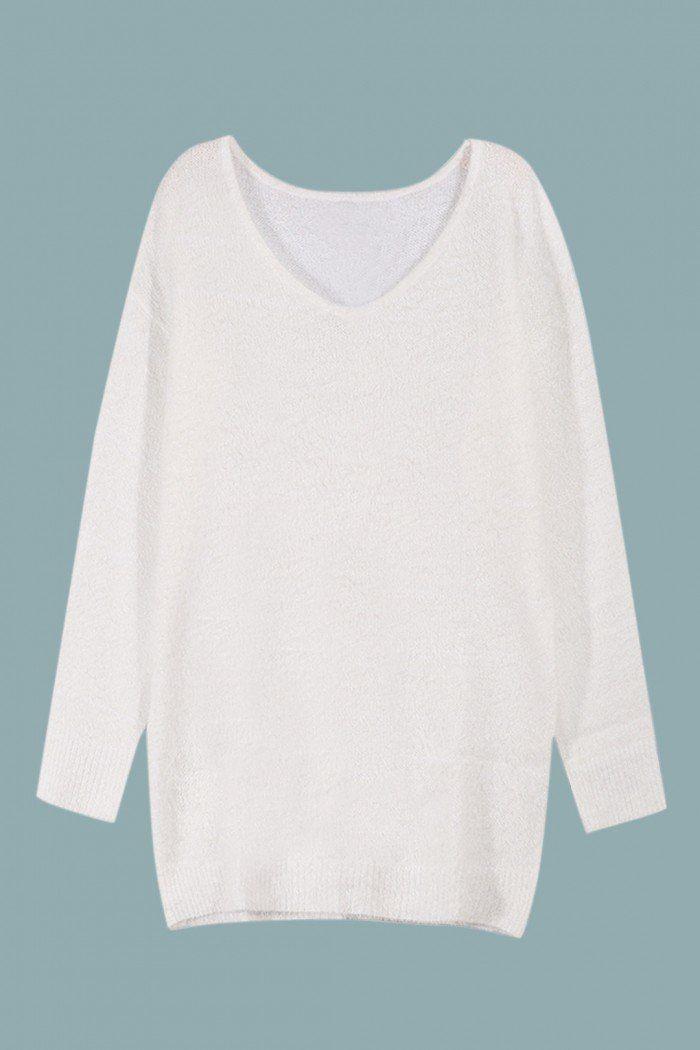 White Mohair V Neck Long Sleeve Jumper  - US$35.95 -YOINS