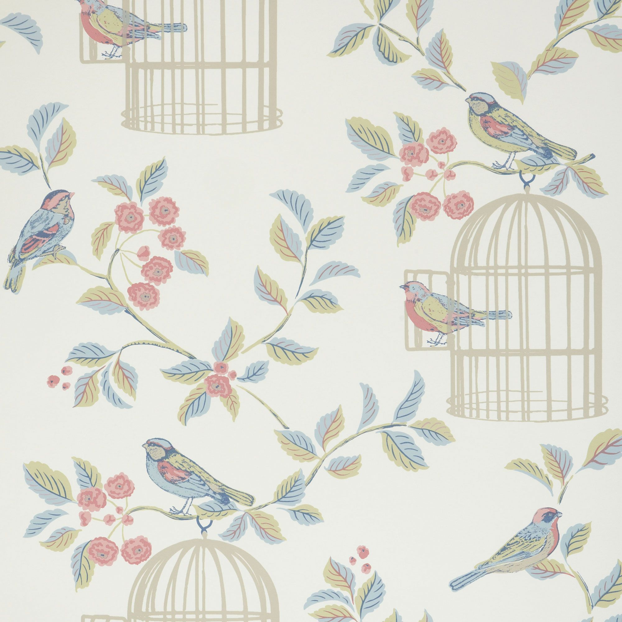 Shabby Chic Eau De Nil Song Bird Wallpaper