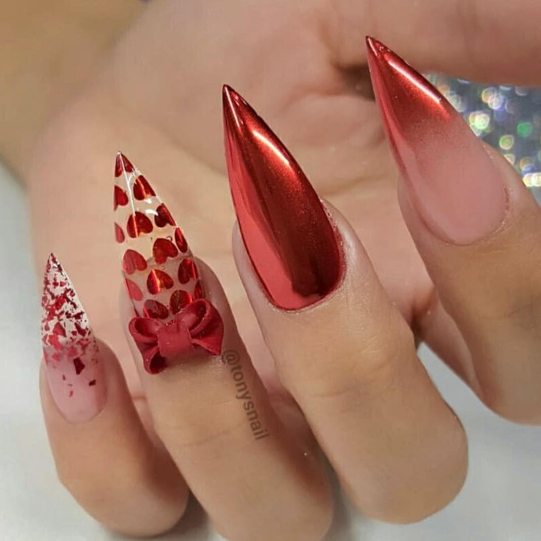 Valentine Nails Chrome Nails Heart Nails Ombre Nails Red Nails Stiletto Nails Nail Designs Valentines Red Stiletto Nails Valentine Nails Pink