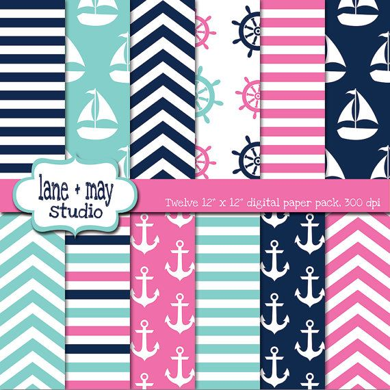 Pink Tiffany Blue And Navy Nautical Digital Scrapbook Papers