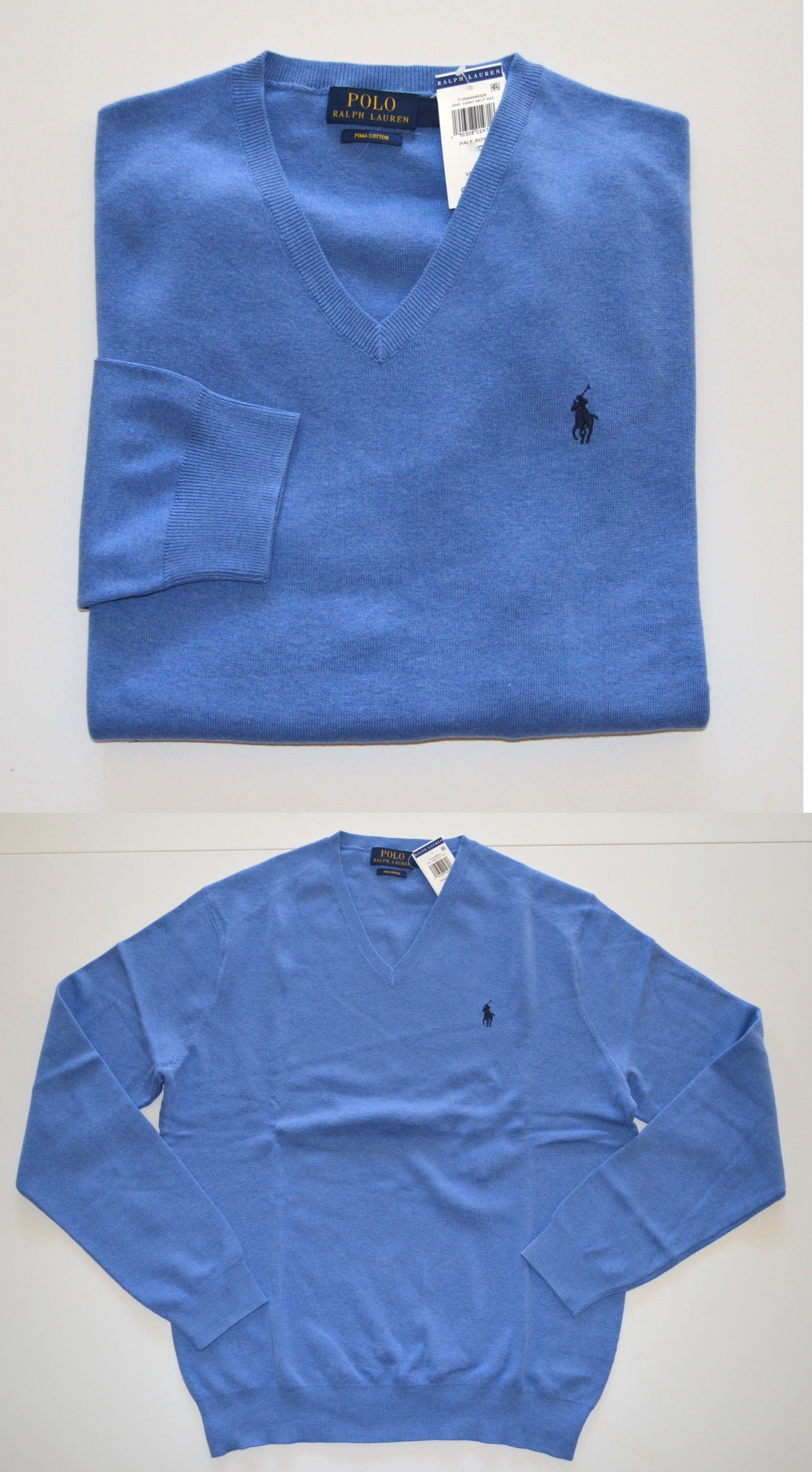 Sweaters 11484: New Men S Polo Ralph Lauren V-Neck Pullover Sweater, Blue, L, Large -> BUY IT NOW ONLY: $49 on eBay!