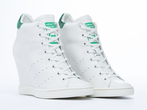 Adidas Originals Stan Smith Up Wedge Sneakers in White Vapor