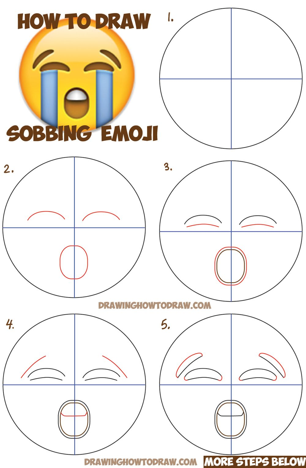 How To Draw Sobbing Crying Emoji Face With Easy Steps Lesson Emoji