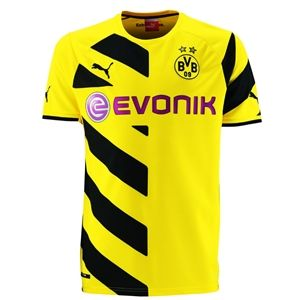 The Yellow And Black Borussia Dortmund 14 15 Puma Home Jersey Features A Diagonal Stripes On Half Of Its Front And One Soccer Jersey Borussia Dortmund Dortmund