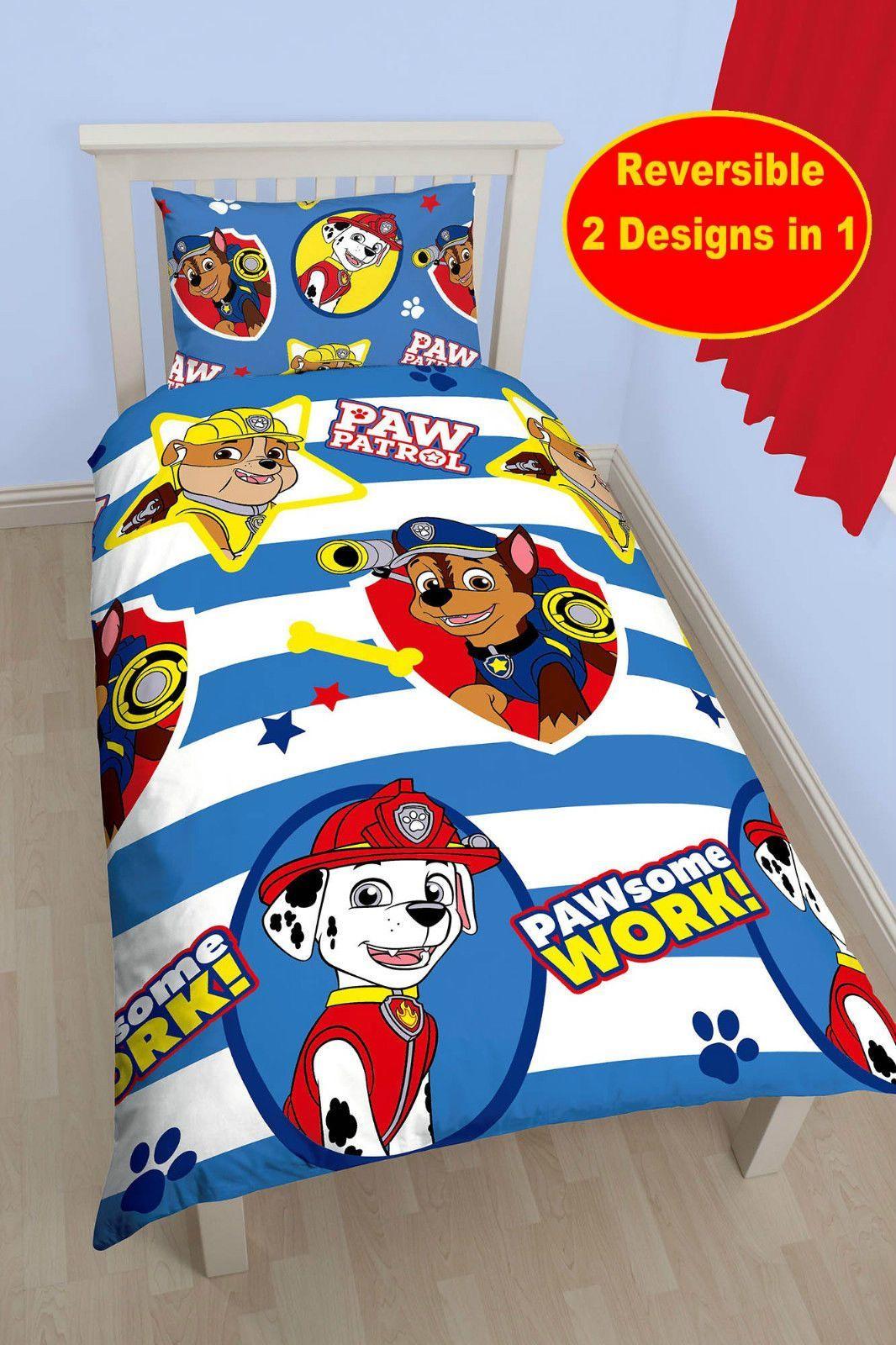 Paw Patrol Pawsome Single Duvet Quilt Cover Bedding Set Boys Blue Bedroom 164e22b63795