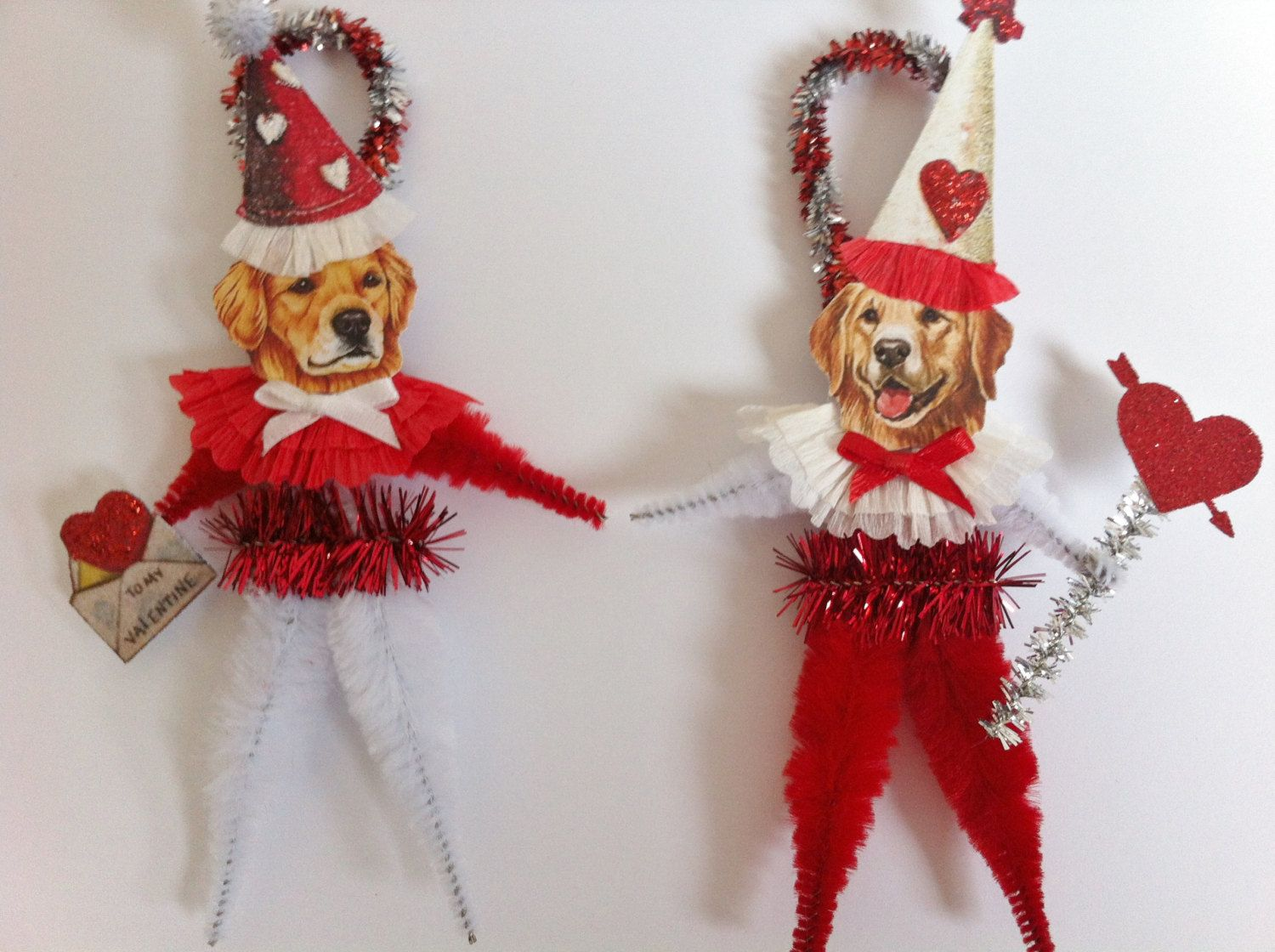 Vintage Style Chenille Pipe Cleaner Stem * DIY Valentine's Day Golden Retriever Dogs * Ornament Inspiration