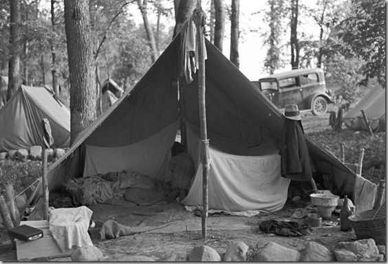 This tent is in a blueberry picker camp near Little Fork, Minnesota, August 1937.