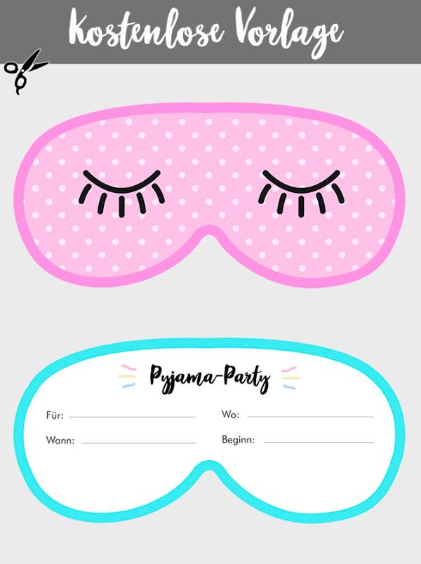 einladungskarte f r eine kinder pyjamaparty selbst basteln einladung maske pinterest. Black Bedroom Furniture Sets. Home Design Ideas