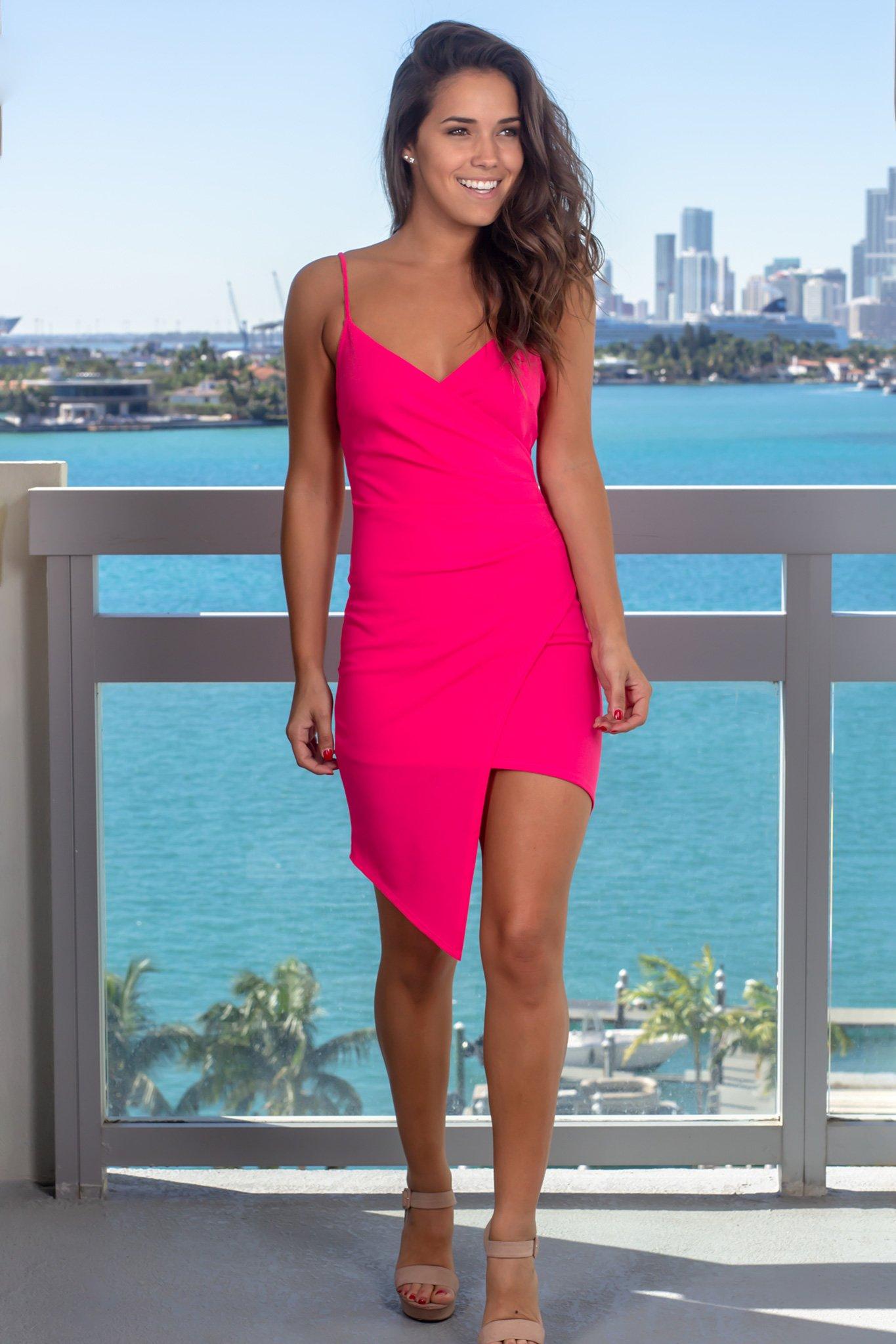 Hot Pink Short Dress with Ruched Side  Short hot pink dress, Pink