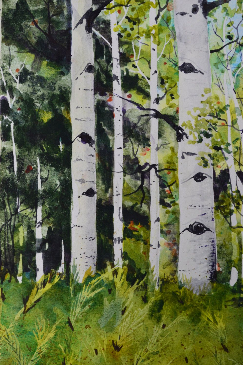 Fern Valley Aspen Watercolor Painting Original Fine Art Painting