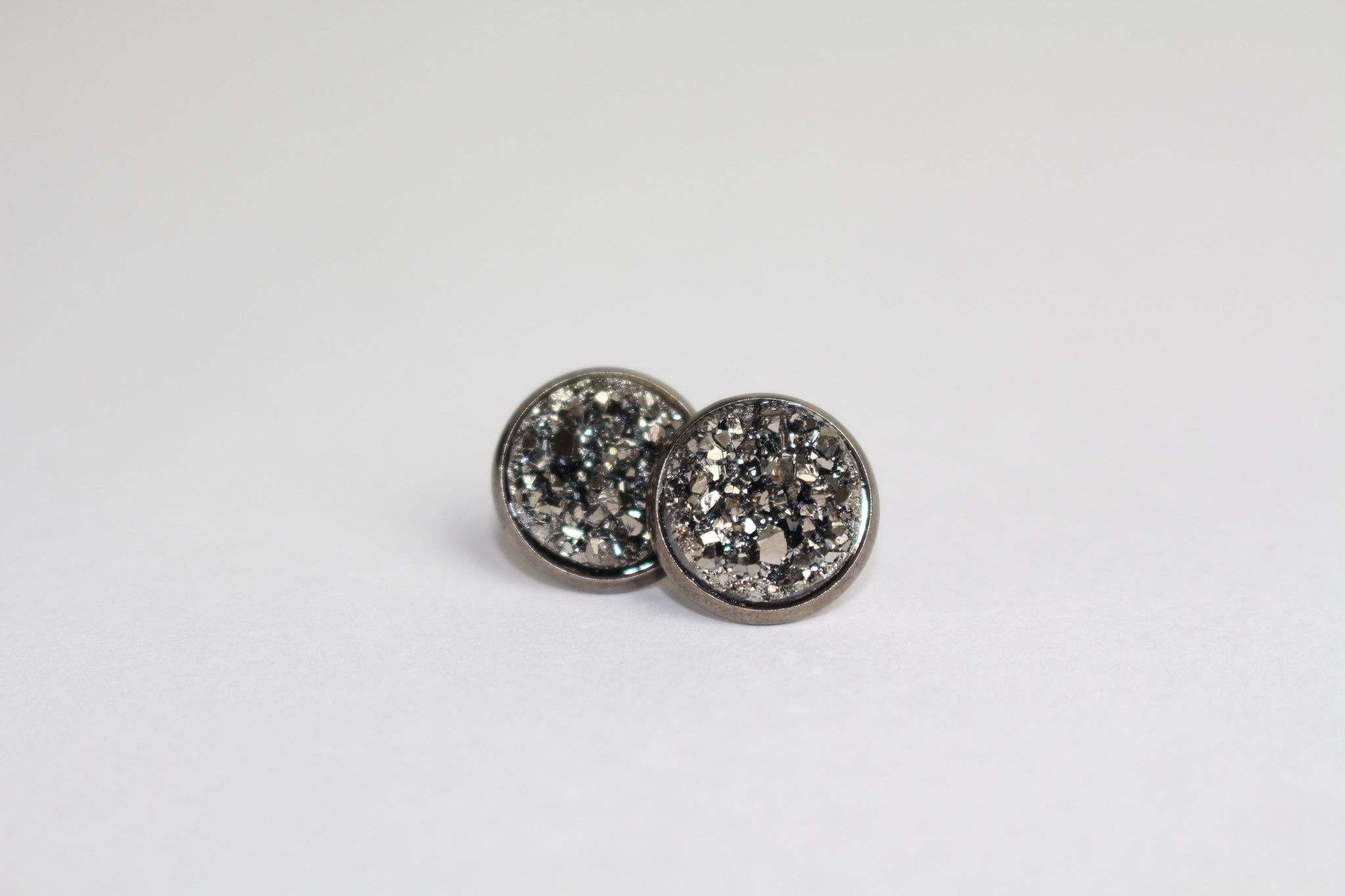 Gunmetal Druzy Earrings