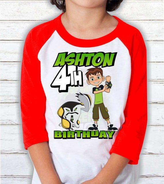 Ben 10 Birthday shirt Ben 10 Party theme shirt Ben 10 Personalized Shirt Raglan 3/4 shirt Ben 10 Fam