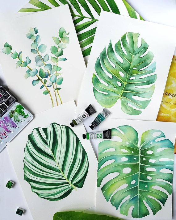 Leaf Wall Art Watercolor Print Set Of 2 Watercolor Leaves Ficus