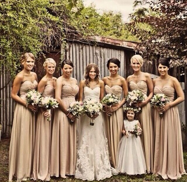 Cream Bridesmaids Dresses