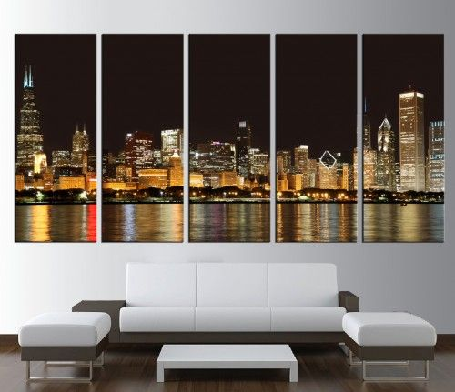 Large print chicago skyline wall art canvas extra large wall art 276