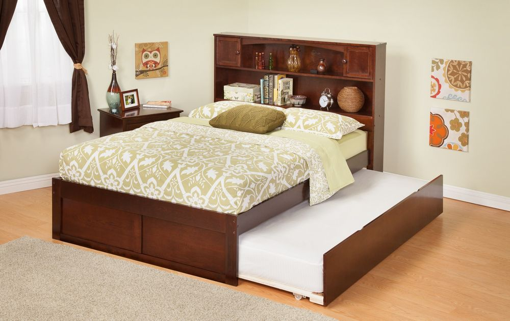 Wonderful Queen Trundle Bed With Bookcase Headboard