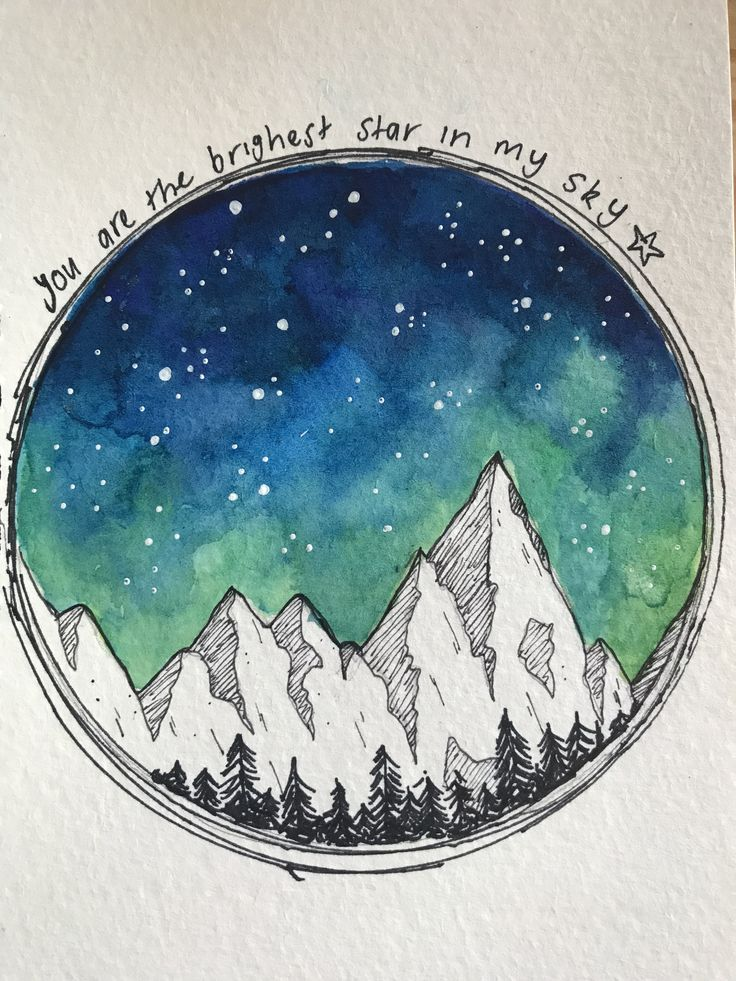 Photo of night time sky and mountains using watercolour and black fine liner. Inspired by…