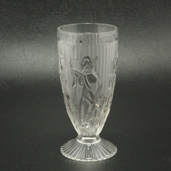 Jeannette Iris Herringbone Depression Glass 6 in Tumbler Vtg
