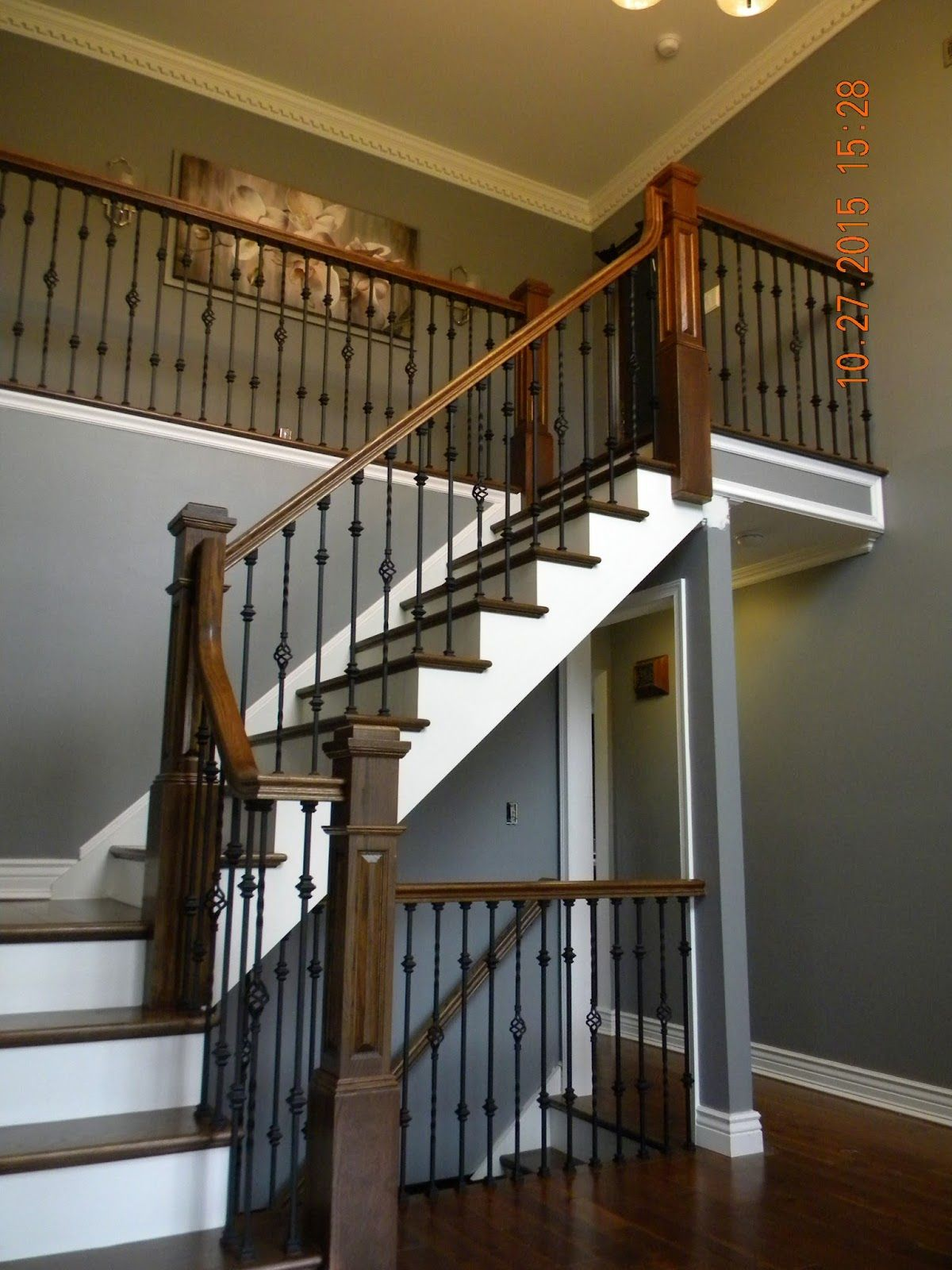 Best Hardwood Stair Replacement With Box Newels And Iron 640 x 480