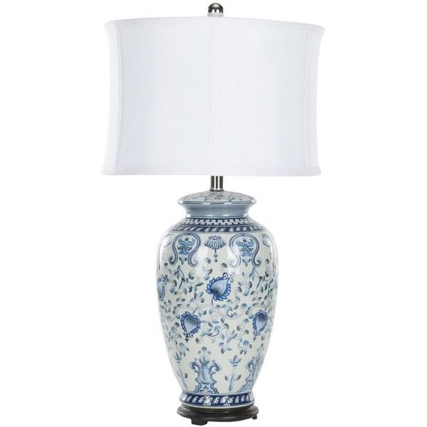 Safavieh Morton Table Lamp 148 Liked On Polyvore Featuring Home Lighting Table Lamps Blue And White Blue And White Lamp White Table Lamp Jar Table Lamp