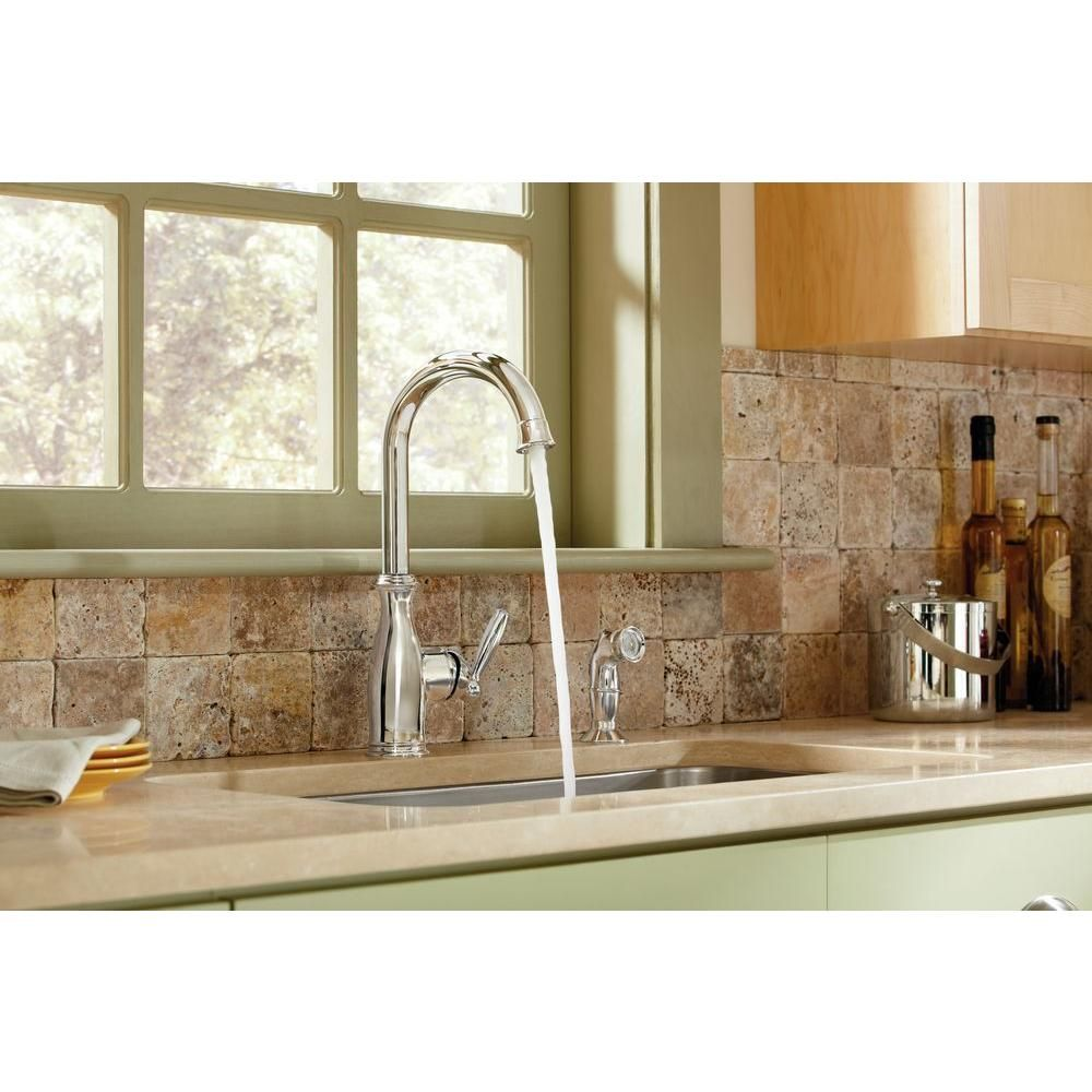 MOEN Brantford High-Arc Single-Handle Standard Kitchen Faucet with ...