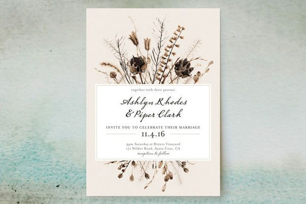 Wildflower Wedding Invitation During The Fall Many Flowers And Herbs Are Drying Up Fields Of Bright Wildflowers Have Turned To Muted Shades Wheat
