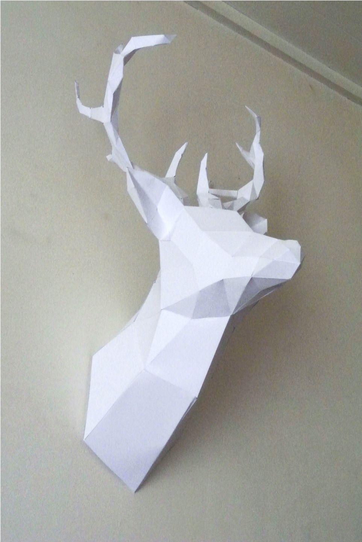 free lapin en papier blanc monter with tete de cerf maison du monde. Black Bedroom Furniture Sets. Home Design Ideas