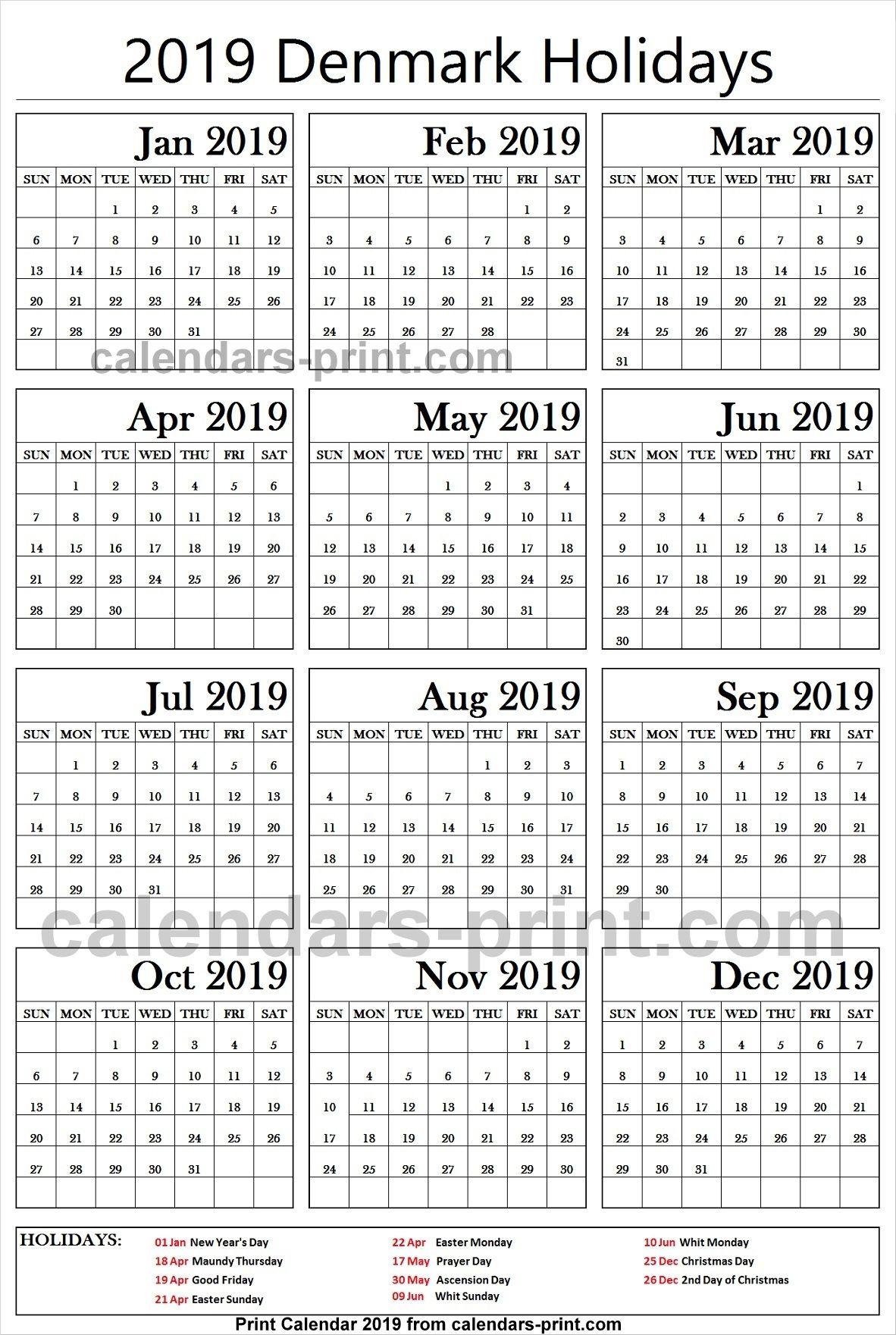 Christmas Holidays 2019 Calendar.2019 Bank Holidays Denmark Holidays Calendar 2019