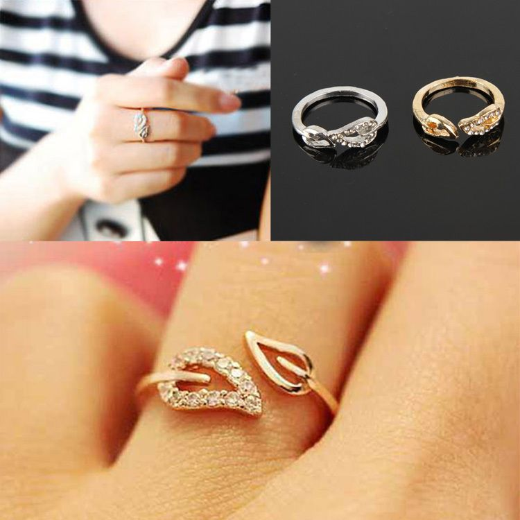 Hot Selling Fashionable Two Leaves Shaped Opening Crystal Couple ...