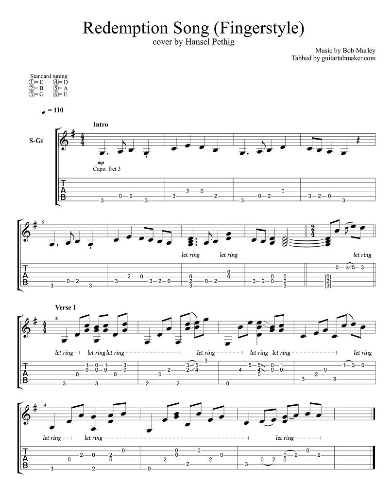 Redemption Song Fingerstyle Guitar Tab Pdf Guitar Sheet Music