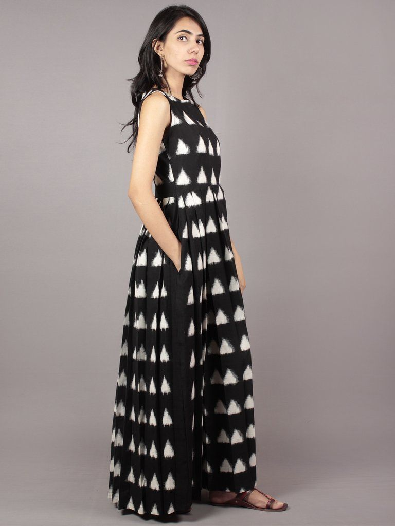 09cbfc2460db Black Ivory Long Sleeveless Handwoven Double Ikat Dress With Knife ...