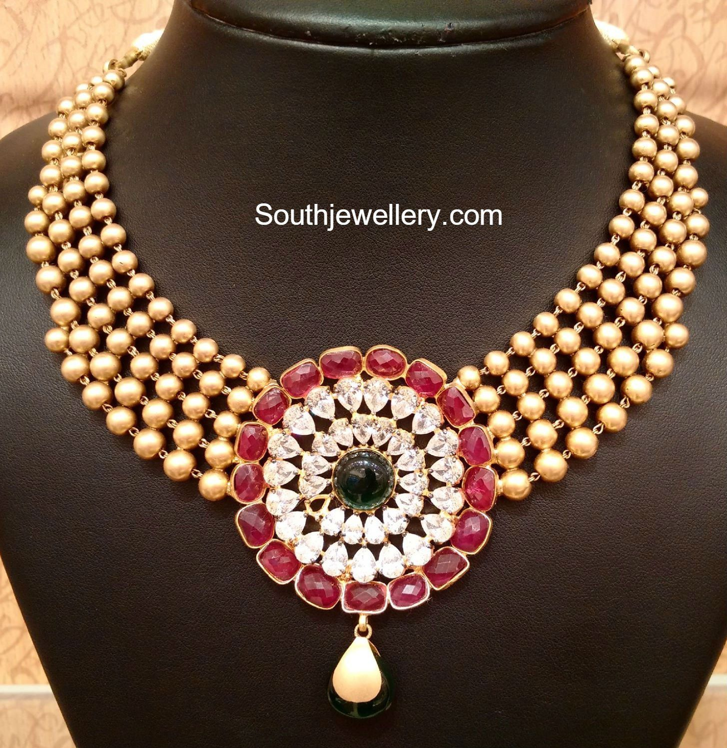 Gold Balls Necklace with Stones Pendant photo blouse