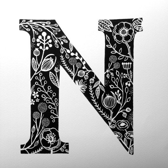 Black and White Monogram Print, The Letter N | Art ...
