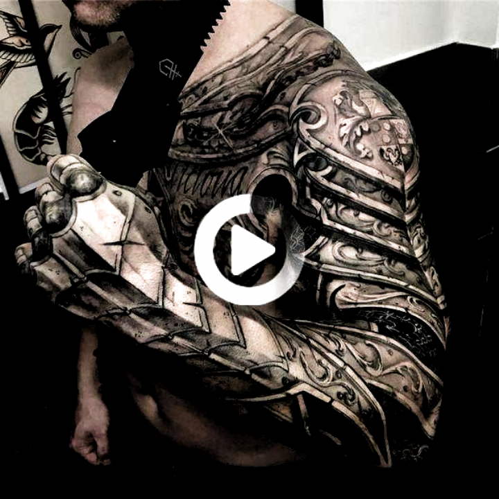 Armour tattoo ideas for men shoulder sleeve and chest